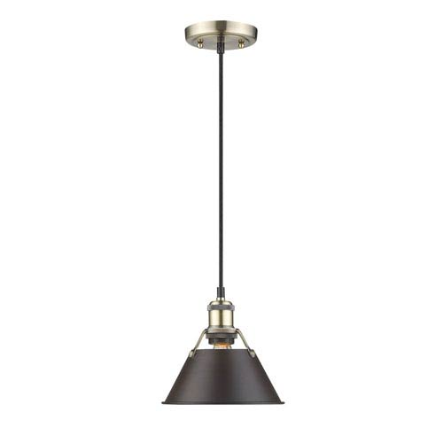 Orwell Aged Brass One-Light Mini Pendant with Rubbed Bronze Shade
