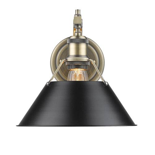 Orwell Aged Brass One-Light Wall Sconce with Black Shade