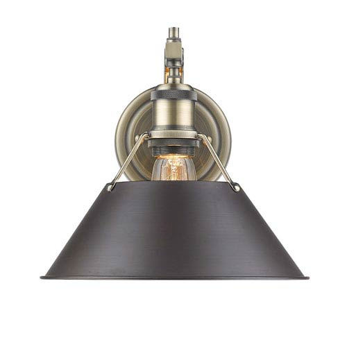 Golden Lighting Orwell Aged Brass One-Light Wall Sconce with Rubbed Bronze Shade