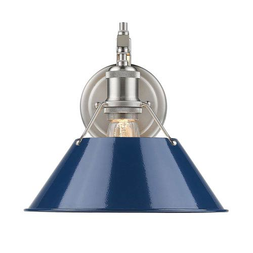 Orwell Pewter One-Light Wall Sconce with Navy Blue Shade