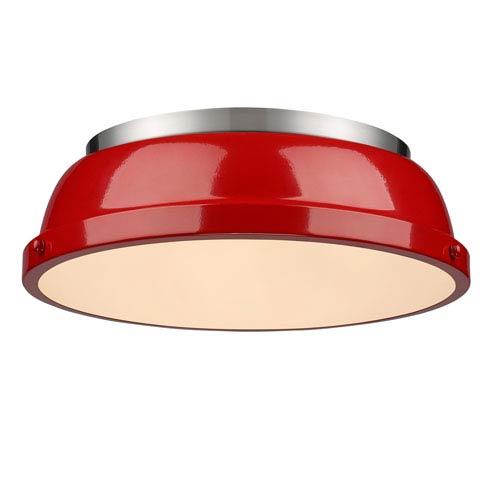 Duncan Red and Pewter Two-Light Flush Mount