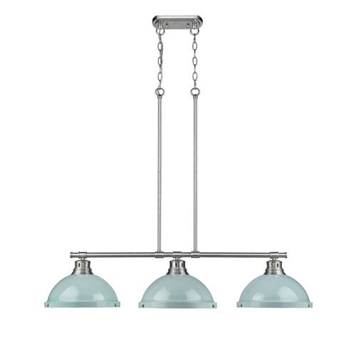 Duncan Pewter Three-Light Island Pendant with Seafoam Shades