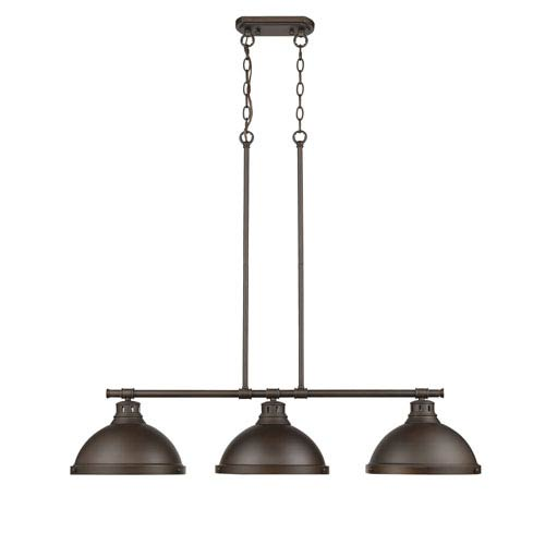 Duncan Rubbed Bronze Three-Light Island Pendant