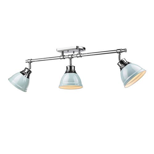 Duncan Seafoam and Chrome Three-Light Track Light