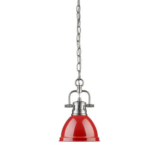 Duncan Pewter One-Light Mini Pendant with Chain and Red Shade