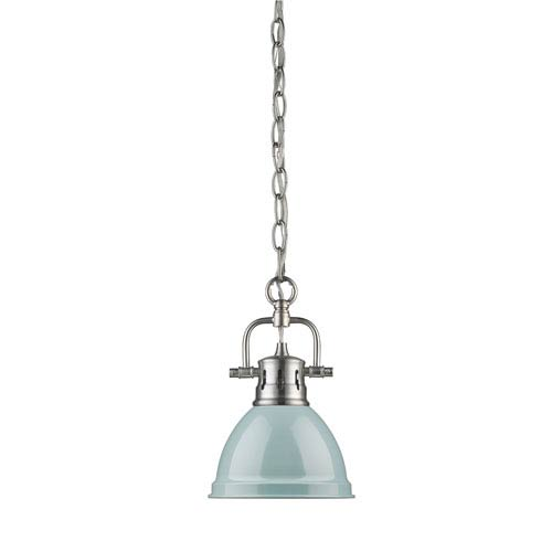 Duncan Pewter One-Light Mini Pendant with Chain and Seafoam Shade