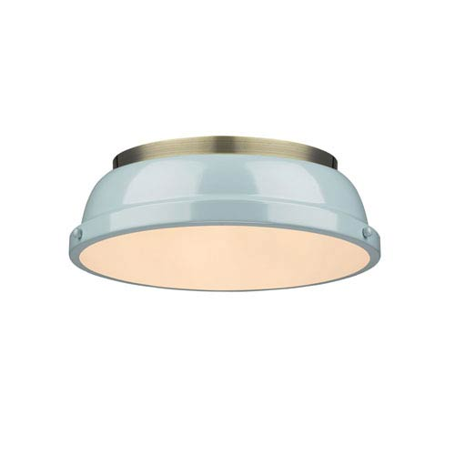 Duncan Aged Brass Two-Light Flush Mount with Seafoam Shades