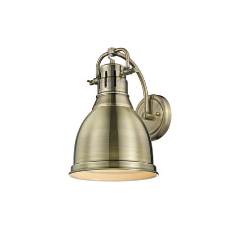 Golden Lighting Duncan Aged Brass One-Light Wall Sconce with Aged Brass Shade