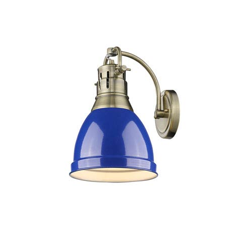 Duncan Aged Brass One-Light Wall Sconce with Blue Shade