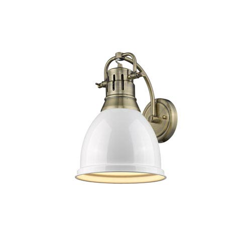 Duncan Aged Brass One-Light Wall Sconce with White Shade