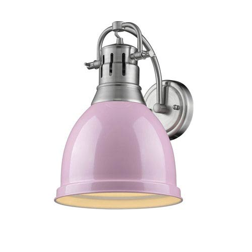 Duncan Pewter One-Light Wall Sconce with Pink Shade