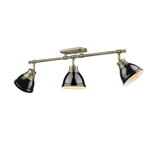 Duncan Aged Brass Three-Light Semi-Flush Mount with Black Shades