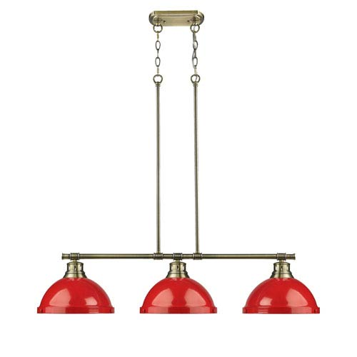 Golden Lighting Duncan Aged Brass Three-Light Linear Pendant with Red Shades