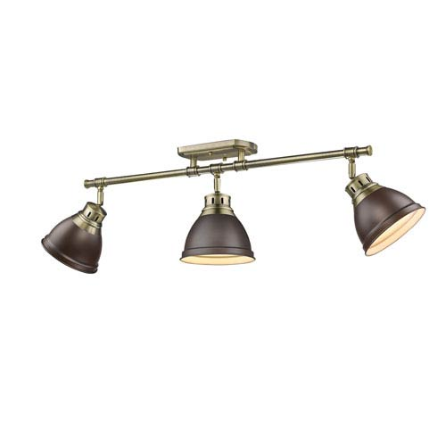 Golden Lighting Duncan Aged Brass Three-Light Semi-Flush Mount with Rubbed Bronze Shades