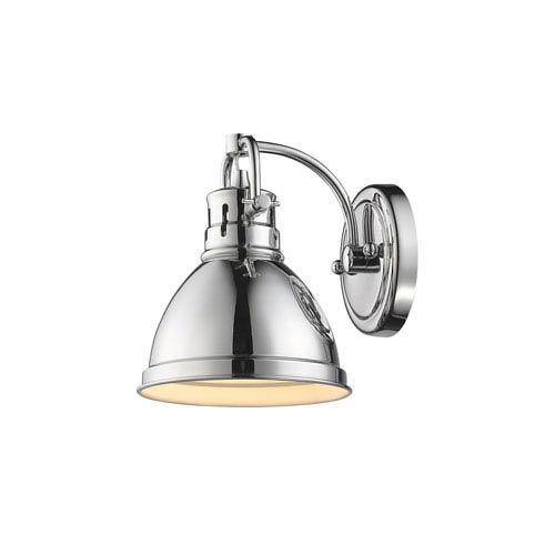 Golden Lighting Duncan Chrome One-Light Vanity Fixture with Chrome Shade