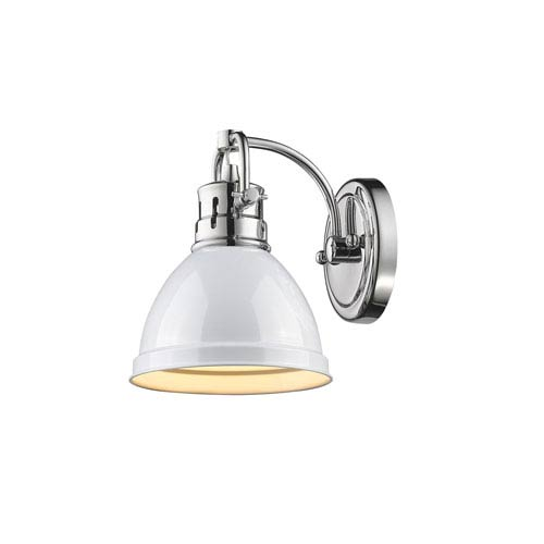 Duncan Chrome One-Light Vanity Fixture with White Shade