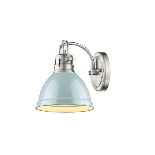Duncan Pewter One-Light Vanity Fixture with Seafoam Shade