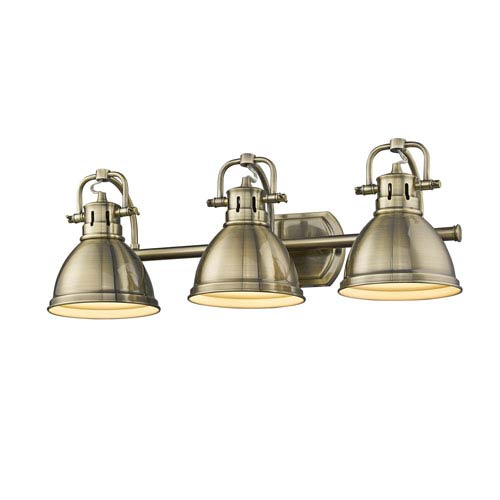 Duncan Aged Brass Three-Light Bath Vanity with Aged Brass Shades
