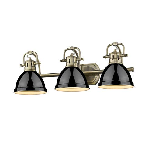 Golden Lighting Duncan Aged Brass Three-Light Bath Vanity with Black Shades