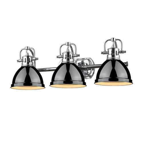 Duncan Chrome Three-Light Vanity Fixture with Black Shade