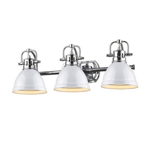 Duncan Chrome Three-Light Vanity Fixture with White Shade