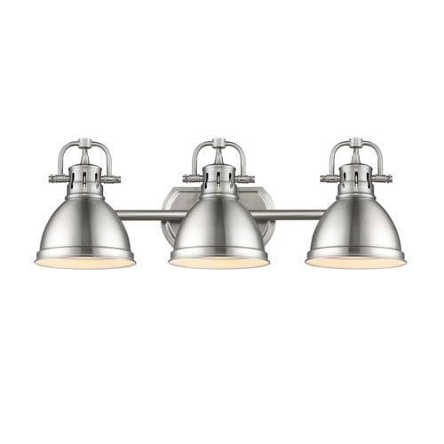 Beachcrest Home Gotha 3 Light Vanity Light Reviews: Golden Lighting Duncan Pewter Three Light Vanity Fixture 3602 Ba3 Pw Pw