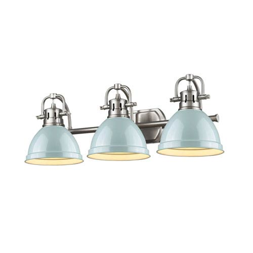 Duncan Pewter Three-Light Vanity Fixture with Seafoam Shade