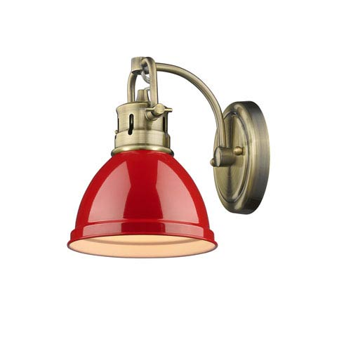 Golden Lighting Duncan Aged Brass One-Light Bath Vanity with Red Shade