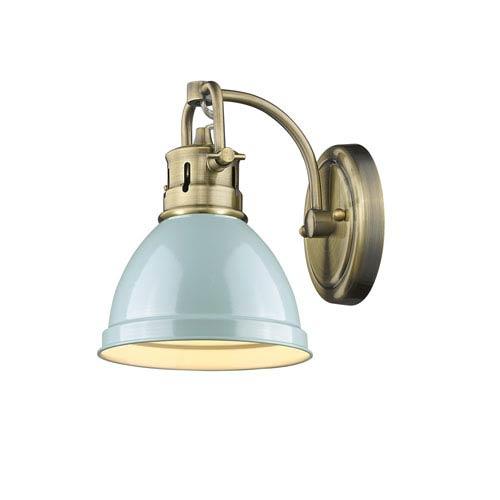 Golden Lighting Duncan Aged Brass One-Light Bath Vanity with Seafoam Shade