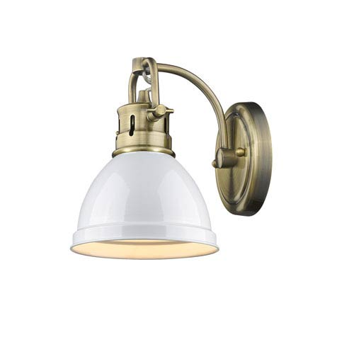 Duncan Aged Brass One-Light Bath Vanity with White Shade