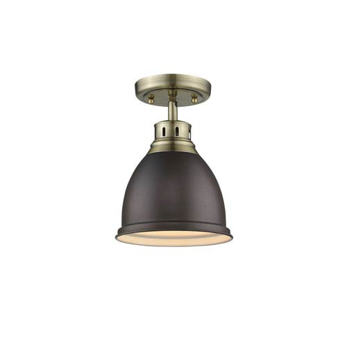 Golden Lighting Duncan Aged Brass One-Light Flush Mount with Rubbed Bronze Shade