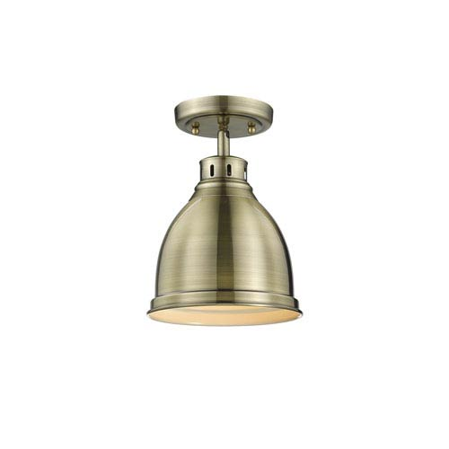 Golden Lighting Duncan Aged Brass One-Light Flush Mount with Aged Brass Shade