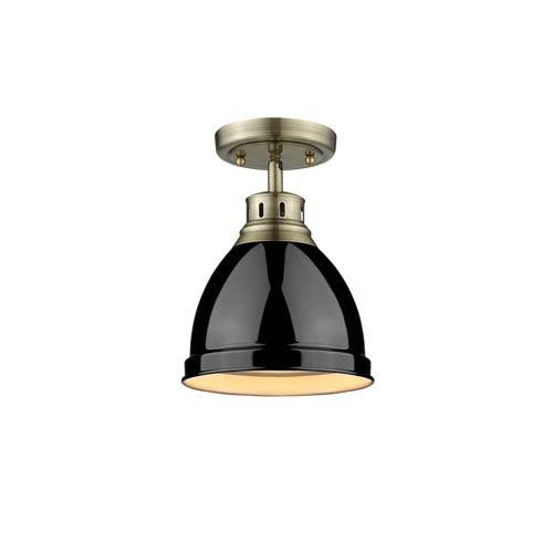 Golden Lighting Duncan Aged Brass One-Light Flush Mount with Black Shade