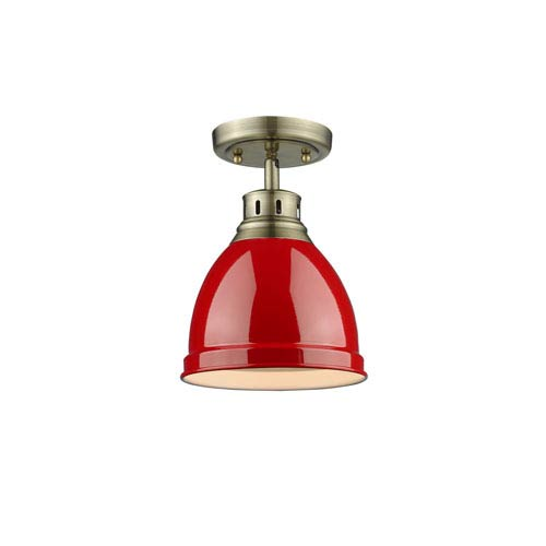 Duncan Aged Brass One-Light Flush Mount with Red Shade