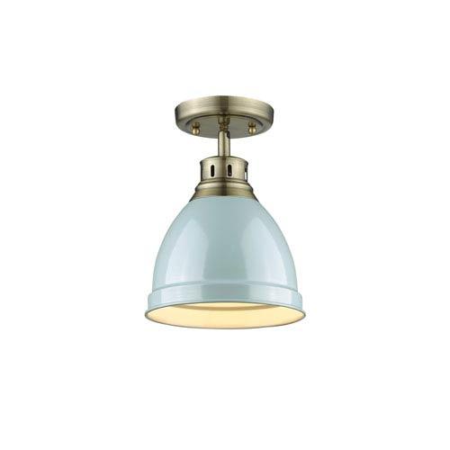 Golden Lighting Duncan Aged Brass One-Light Flush Mount with Seafoam Shade