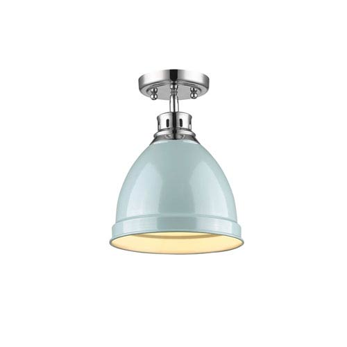 Golden Lighting Duncan Chrome One-Light Semi-Flushmount with Seafoam Shade