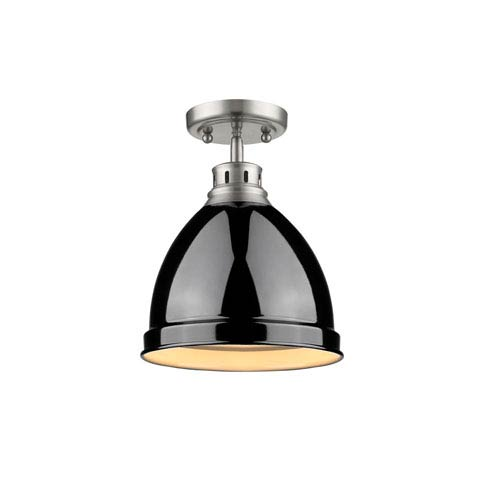 Duncan Pewter One-Light Semi-Flushmount with Black Shade