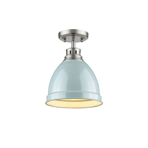 Duncan Pewter One-Light Semi-Flushmount with Seafoam Shade
