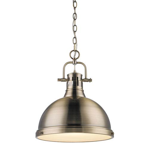 Golden Lighting Duncan Aged Brass One Light Pendant