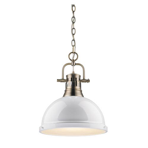 Golden Lighting Duncan Aged Brass 14-Inch One Light Pendant with White Shade