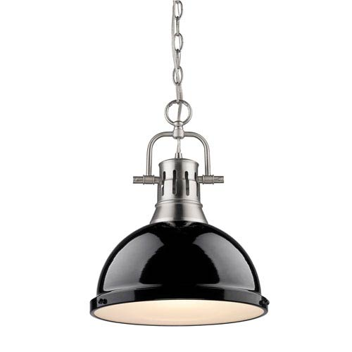 Golden Lighting Duncan Pewter 14-Inch One Light Pendant with Black Shade