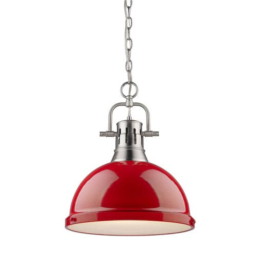 Golden Lighting Duncan Pewter 14-Inch One Light Pendant with Red Shade