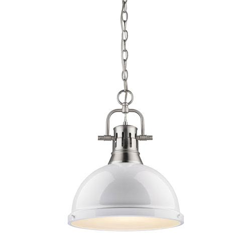 Duncan Pewter 14-Inch One Light Pendant with White Shade