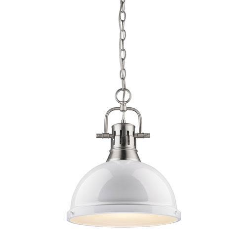 Golden Lighting Duncan Pewter 14-Inch One Light Pendant with White Shade