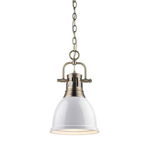 Golden Lighting Duncan Aged Brass 8.875-Inch One Light Mini Pendant
