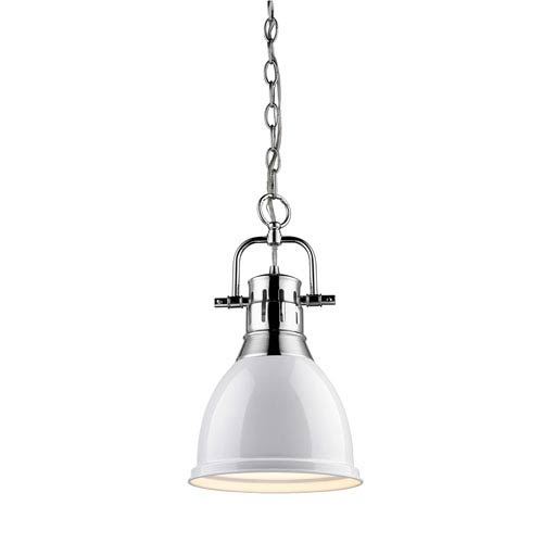 Duncan Chrome One Light Mini Pendant with White Shade