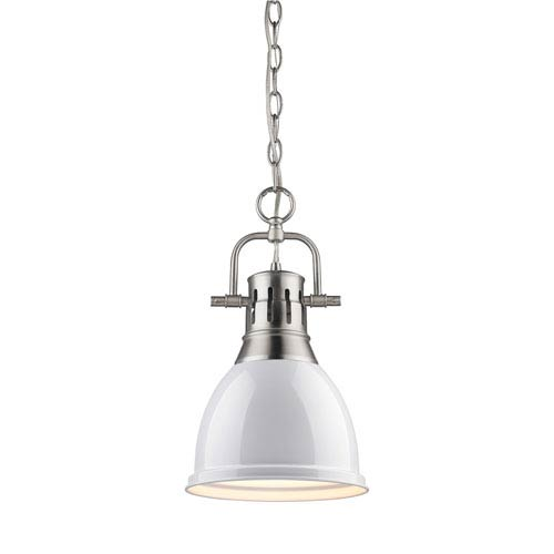 Golden Lighting Duncan Pewter 8.875-Inch One Light Mini Pendant with White Shade