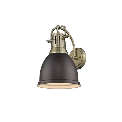 Golden Lighting Duncan Aged Brass One-Light Wall Sconce with Rubbed Bronze Shade