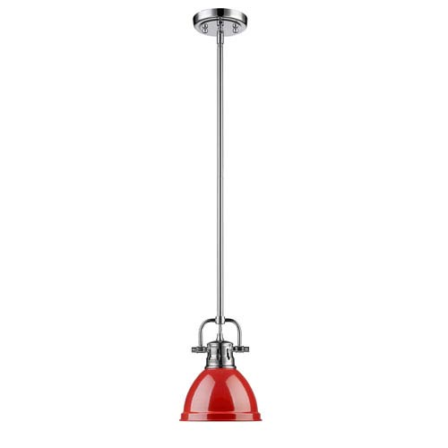 Duncan Chrome One-Light Mini Pendant with Red Shade