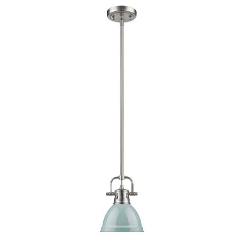 Duncan Pewter One-Light Mini Pendant with Seafoam Shade